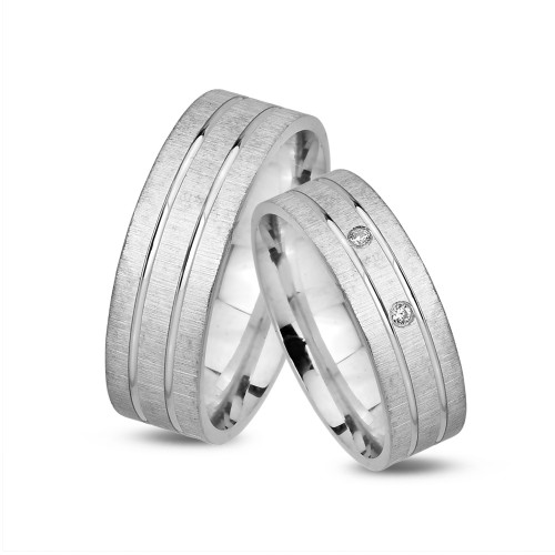 Çift Taşlı Gümüş Alyans Set