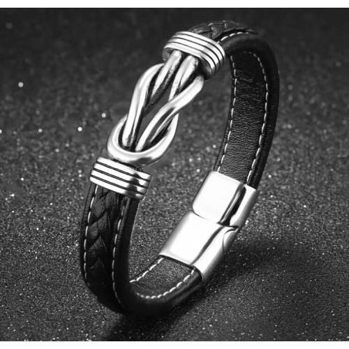 """""""Düğüm"""" Model Gerçek Deri Çelik Erkek Bileklik"""