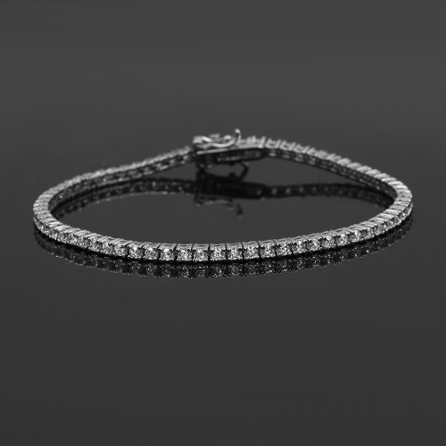2,50 mm Pırlanta Kesim Zirkon Taşlı  Suyolu Bileklik