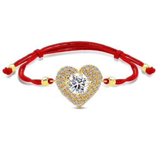 """Kuyumcudukkanı'ndan Kırmızı Renk İpli """"Kalp"""" Model Altın Bileklik"""