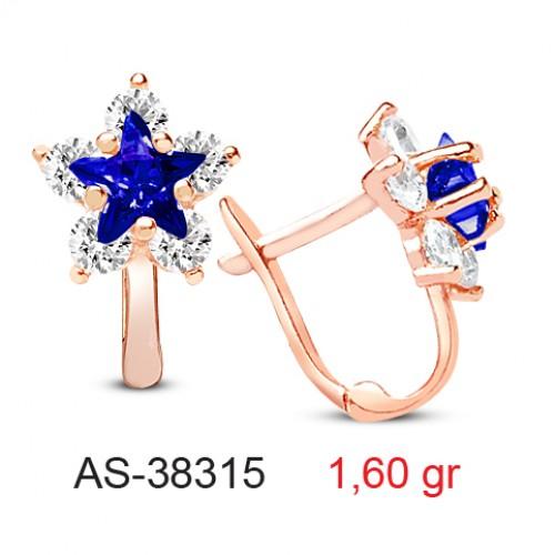 8 Ayar Altın Lacivert Taşlı  Yıldız Modeli  Bayan ve Çocuk  Zirkon Taşlı Küpe