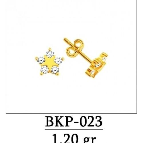 8 Ayar Altın Yıldız Model Beyaz Taşlı Vidalı Bayan Ve Çocuk Küpesi