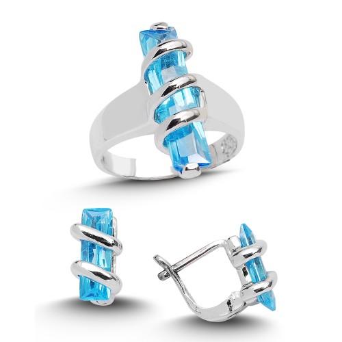 Blue Baget Topaz Renkli  Gümüş Yüzük Küpe Seti