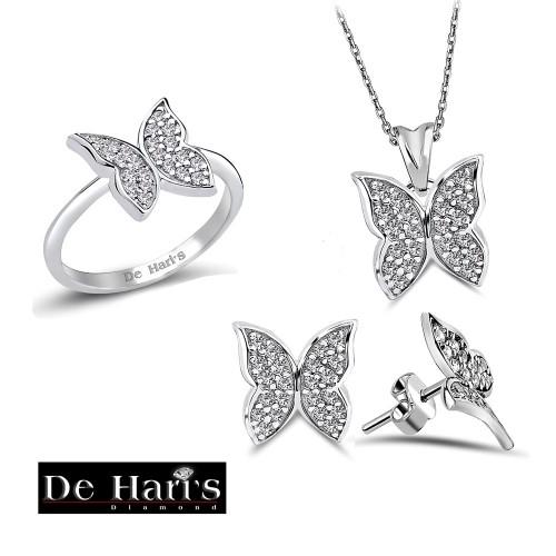 Zirkon Taşlı Beyaz Altın Renk  Kaplamalı Kelebek Set