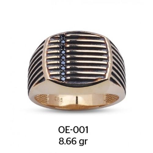 Izgara Model Altın Erkek Yüzüğü