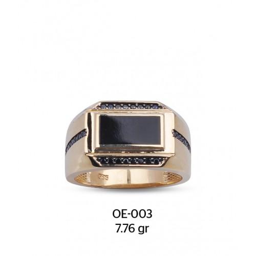 Siyah Mine Parçalı Altın Erkek Yüzüğü