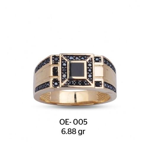 Siyah Kare Parçalı Altın Erkek Yüzüğü