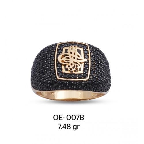 Siyah Zirkon Taş Üzerine Tuğra Motifli Altın Erkek Yüzüğü