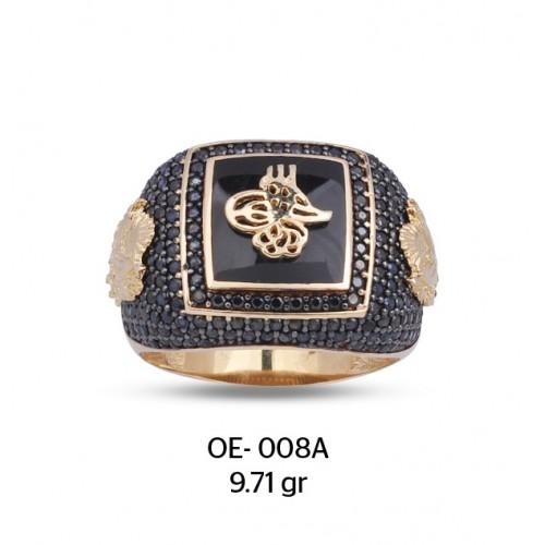 Siyah Mine Üzerine Tuğra Motifli Altın Erkek Yüzüğü