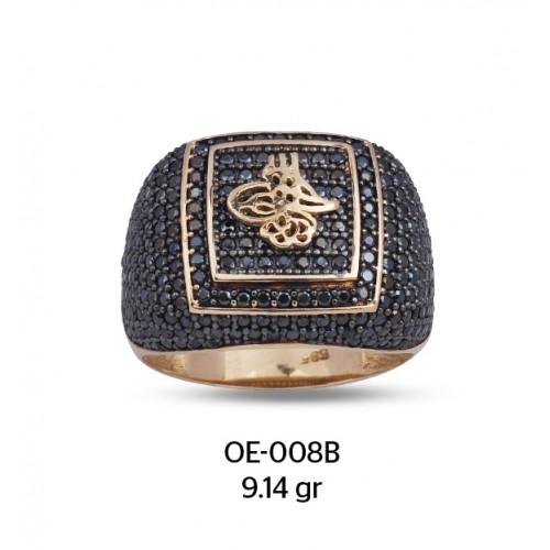 Siyah Zirkon Taş Çerçeve Üzerine Tuğra Motifli Altın Erkek Yüzüğü