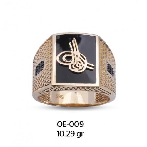 Siyah Mine Çerçeve Üzerine Tuğra Motifli Altın Erkek Yüzüğü