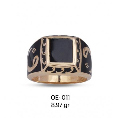 Vav Harfi Motifli Mine Çerçeveli Altın Erkek Yüzüğü