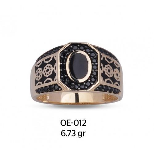 Sekiz Köşeli Yıldız Figürlü Altın Erkek Yüzüğü
