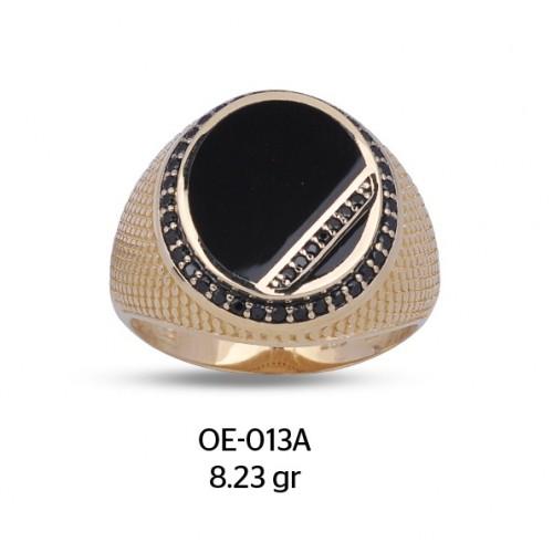 Şerit Parçalı Yuvarlak Mine Çerçeveli Altın Erkek Yüzüğü