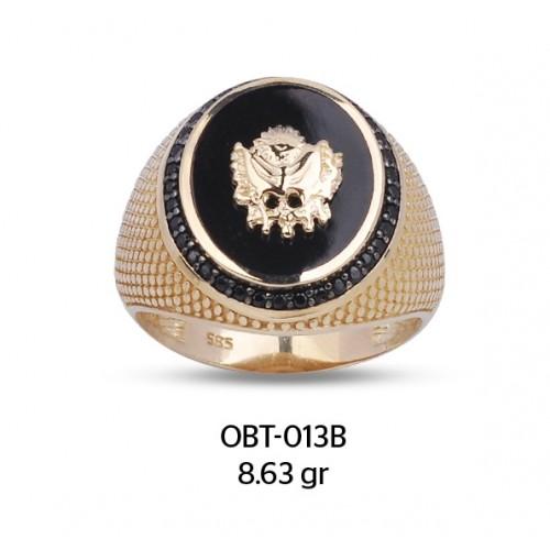 Osmanlı Devlet Arması Oniks taşlı Altın Erkek Yüzüğü