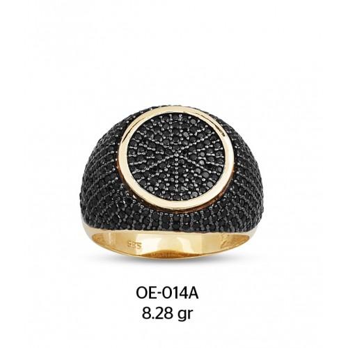 Siyah Güneş Motifli Altın Erkek Yüzüğü