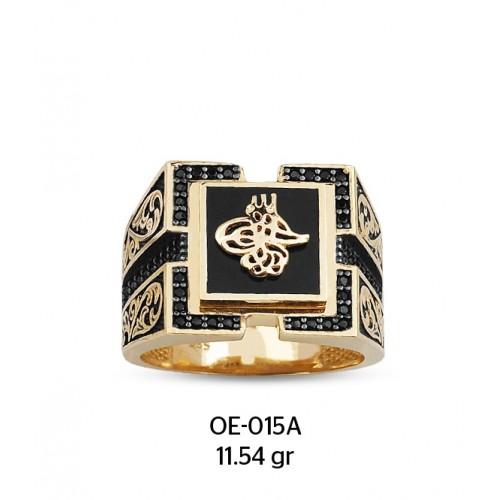 Tuğra Motifli Kare Altın Erkek Yüzüğü