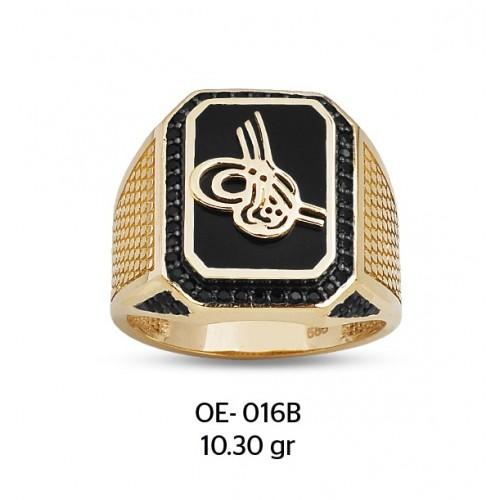 Mine Çerçevede Tuğra Motifli Altın Erkek Yüzüğü