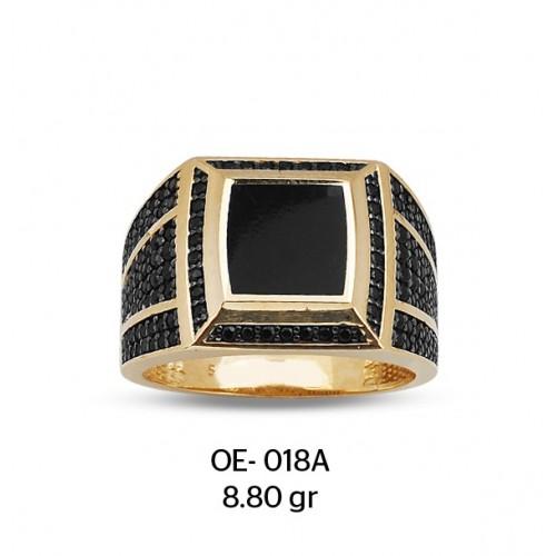 Kare Siyah Mineli Altın Erkek Yüzüğü