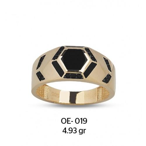 Altıgen Mineli Altın Erkek Yüzüğü