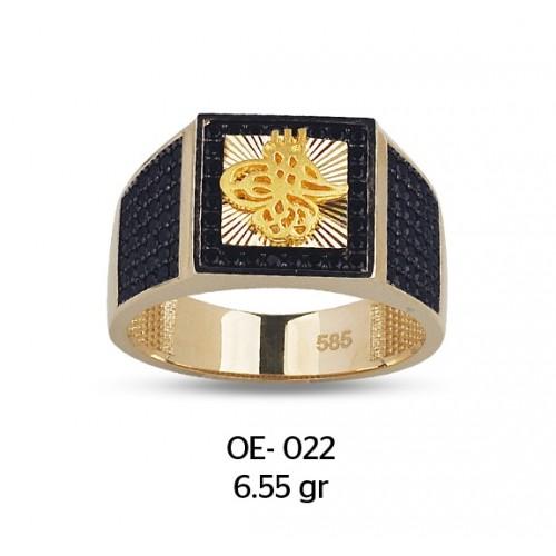 Tuğra Güneşi Motifli Altın Erkek Yüzüğü