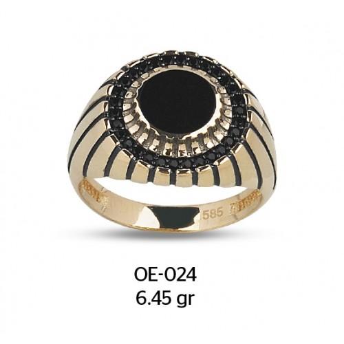 Mineli Göz Altın Erkek Yüzüğü