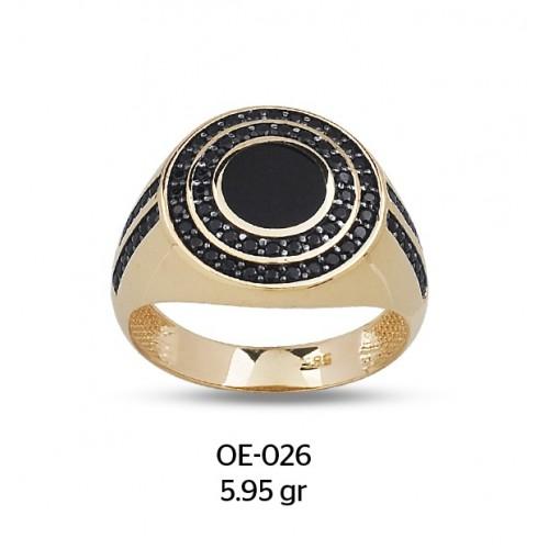 Çift Sıra Taşlı Mineli Göz Altın Erkek Yüzüğü