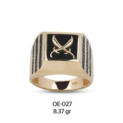Çift Kılıçlı Altın Erkek Yüzüğü
