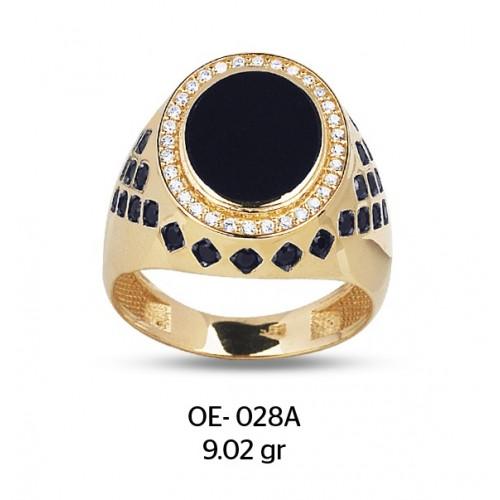 Siyah Mine Göz Parçalı Altın Erkek Yüzüğü