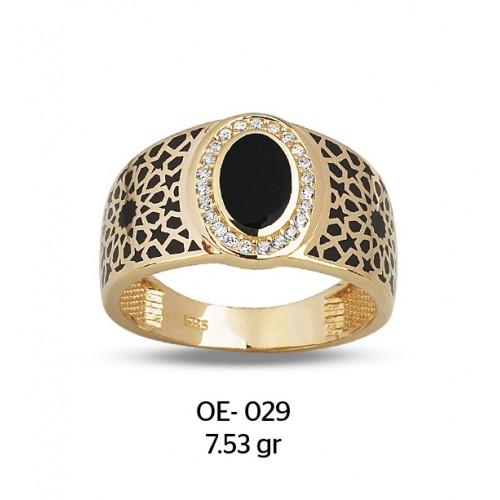 Küçük Göz Parçalı Altın Erkek Yüzüğü