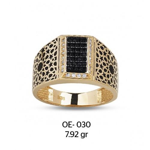 Dikdörtgen Çerçeveli Altın Erkek Yüzüğü