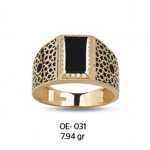 Mine Dikdörtgen Çerçeveli Altın Erkek Yüzüğü