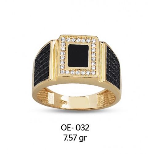 Mine Kare Çerçeveli Altın Erkek Yüzüğü