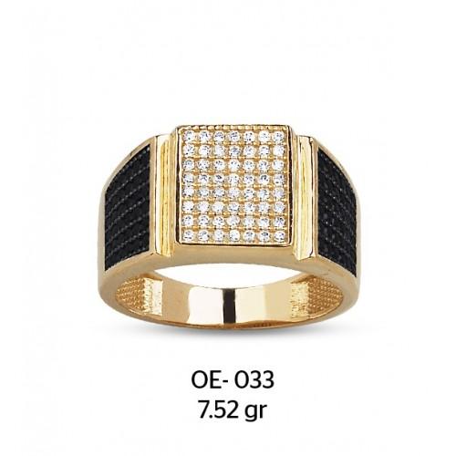 Beyaz Taş Çerçeveli Altın Erkek Yüzüğü
