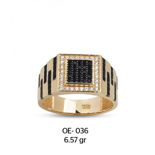 Siyah Beyaz Kare Çerçeveli Dalgalı Altın Erkek Yüzüğü