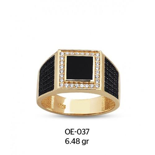 Beyaz Kare Çerçeveli Mineli Altın Erkek Yüzüğü