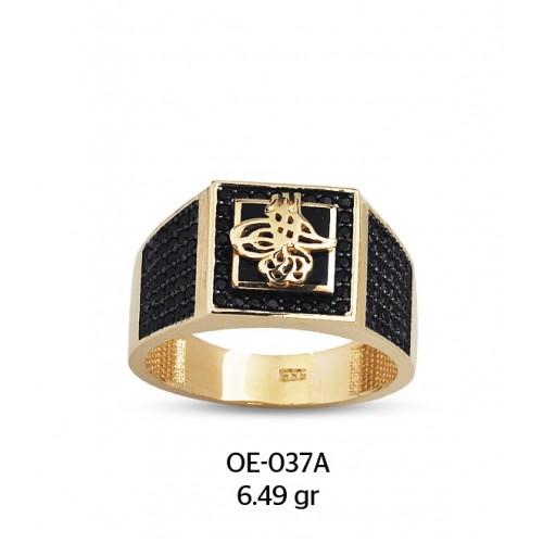 Siyah Kare Çerçeveli Mine Üzerine Tuğralı Altın Erkek Yüzüğü