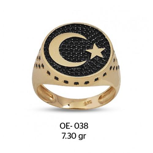 Türk Bayrağı Altın Erkek Yüzüğü