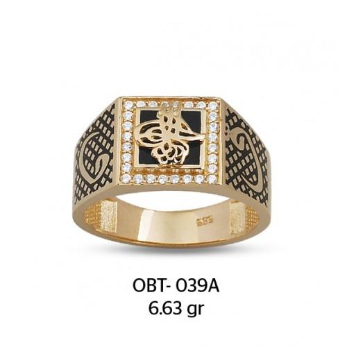 Vav Harfli Tuğralı Altın Erkek Yüzüğü