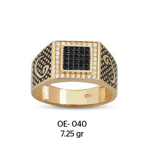 Vav Harfli Beyaz Çerçeveli Altın Erkek Yüzüğü