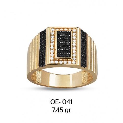 Beyaz Dikdörtgen Çerçeveli Altın Erkek Yüzüğü