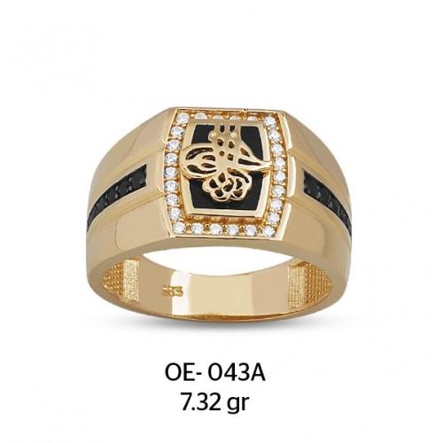 Siyah Tek Sıra Üzerine Tuğralı Altın Erkek Yüzüğü