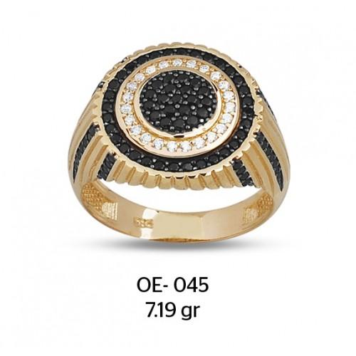 Siyah & Beyaz Daireler Altın Erkek Yüzüğü