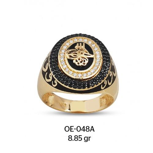 Vav Harfli Kalın Daire İçinde Tuğralı Altın Erkek Yüzüğü