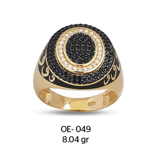 Vav Harfli Kalın Daireler Altın Erkek Yüzüğü
