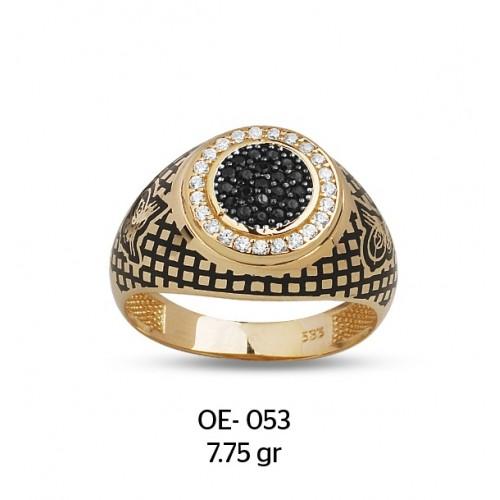 Yanları Tuğralı Siyah & Beyaz Yuvarlak Altın Erkek Yüzüğü