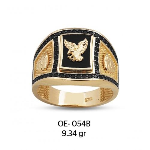 Yanları Aslanlı Kartal Altın Erkek Yüzüğü