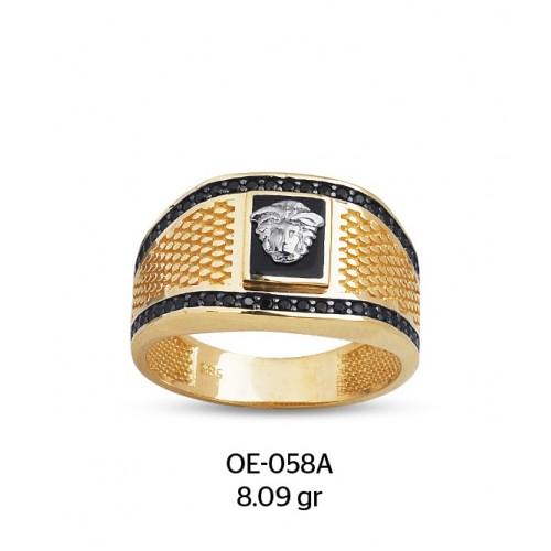 Yanları Pullu Medusa Altın Erkek Yüzüğü