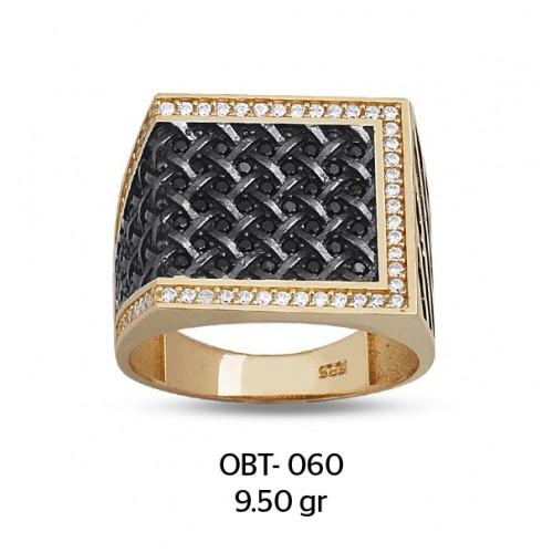 Siyah Dalgalar Altın Erkek Yüzüğü