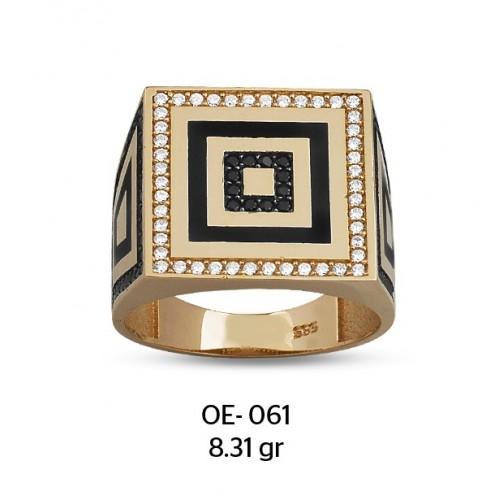 İç İçe Kareler Altın Erkek Yüzüğü